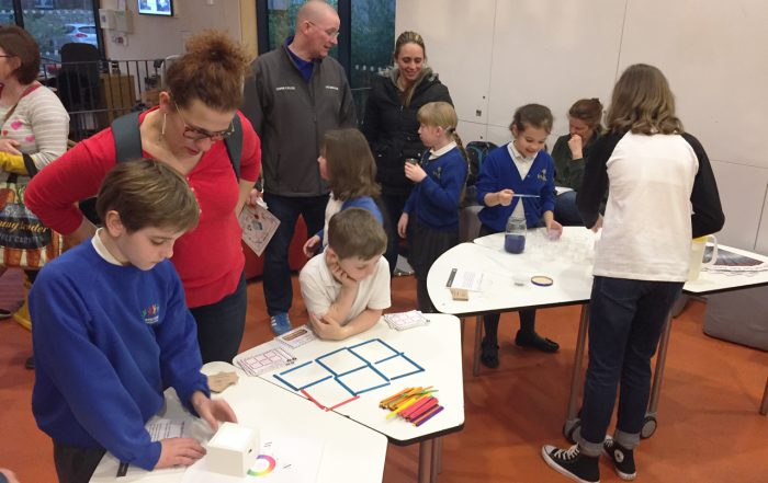 Children trying experiments
